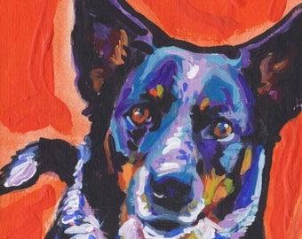 "Australian Cattle Dog print of modern Dog painting blue heeler pop dog art bright colors 12x12"""