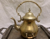 Solid Brass Teapot Coffee Pot Engraved Etched Heavy Brass Vintage Wedding Cottage