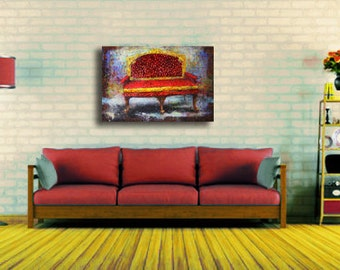 """Art Painting Canvas painting ORIGINAL  ABSTRACT  PAINTING on canvas """"Sofa"""" 24''x36'' Acrylic on Canvas"""