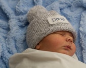 Knit Baby Hat, Personalized,New Baby, Newborn Hat, Baby Girl Hat, Baby Boy Hat,Preemie, Free monogrammed name, Boys winter hats