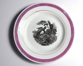 1850 Pink Lustre Plate Dog and Fowl
