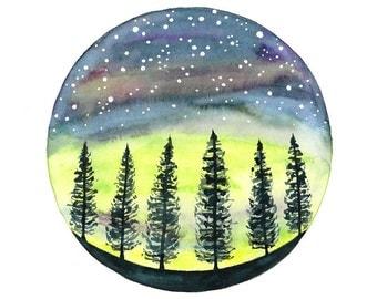 Original watercolor painting Northern lights illustration