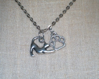 Cat Paw Print Necklace, Silver Kitty Cat Necklace, Valentines Day, Birthday, Mothers Day, Cat Lovers, Cat Jewelry, Feline Jewelry, Caturday