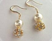 Gold pearl Earrings - Ivory/cream pearls - Swarovski's Gold Rhinestone fireballs - Bridal jewelry - Bridesmaids - Gift- Formal jewelry -