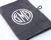Monogrammed Tea Wallet - Linen