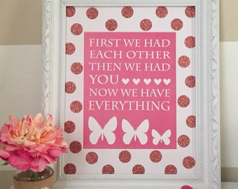 Pink Butterfly Nursery Print, Butterfly Nursery Decor, Butterfly Decor - 8x10