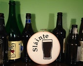 """Slainte Stout Beer Screen Printed and Painted 6"""" Embroidery Hoop Wall Art"""