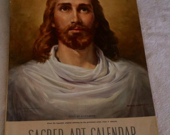 Antique Religious Sacred Art Calender From 1957 - Mid Century Colorful Lutheran Date KEEPER With Inspirational Quotes, Retro SALE/Clearance