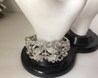 Bracelet, Cuff, Rhinestones or Crystals, Hinged Bracelet, Vintage Rhinestone Cuff, Wedding Jewelry