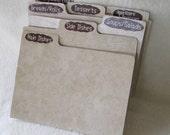 Large Recipe Box Dividers -Recipe Box Organizers - Index Cards - Kitchen Organizers - 5X7 -  Shower Gift