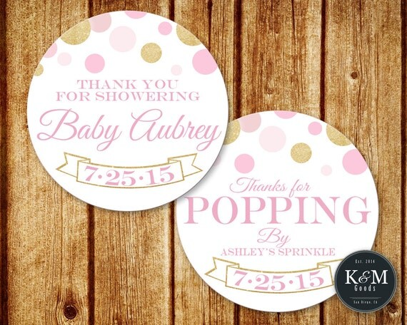 baby shower thank you tag favor tag thanks for popping by tag