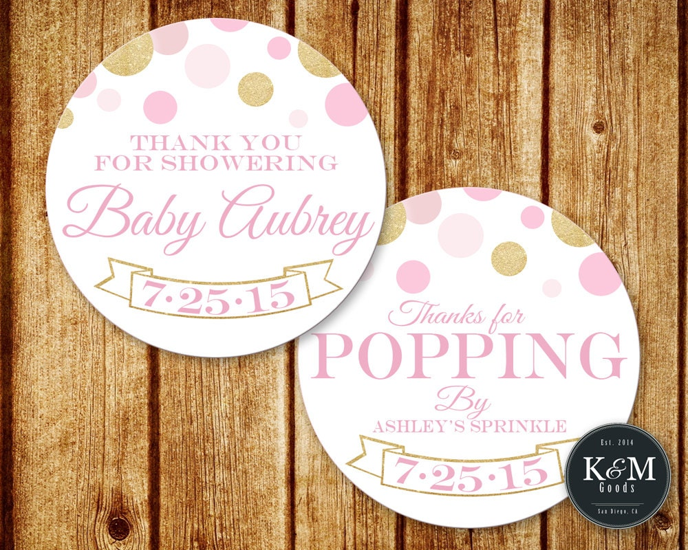 pink and gold glitter baby shower thank you tag favor tag
