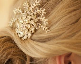 Bridal Hair Comb, Art Deco Hair Comb, Gold, Antique Style, Bridal Comb, Gold Wedding Comb, Headband, Tiara, Downton Abbey, Swarovski Crystal