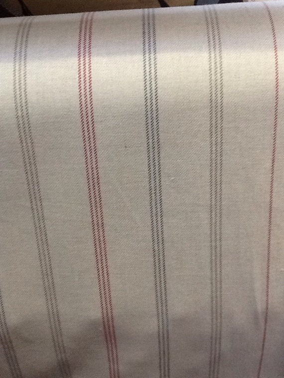 Waterford stripe in red rosso by the metre 100 cotton for Childrens curtain fabric by the metre