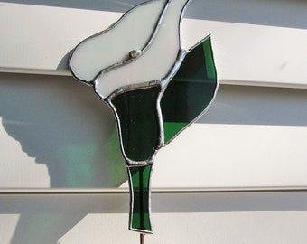 Calla Lilly Stained Glass Plant/Garden Stake - Indoor/Outdoor Decoration/Memorial Marker