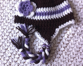 3-6 months Crocheted Photo Prop Girl Purple, Dark Brown, and White 15 in. Hat - IN STOCK