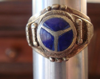 Vintage Afghani Tribal Heavy Sterling Silver Lapis Ring sz 9.25