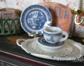 Blue Willow Tea cup and Saucer for Dollhouse
