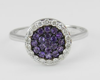 Diamond and Purple Amethyst Halo Cluster Ring 14K White Gold Size 7.25