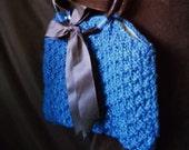 Beautiful Hand Made Blue Knit Purse