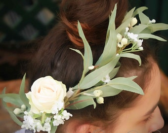 Gumnut Girl - Silk flower and foliage crown. Rose, eucalypt leaves, gumnets and pip berries.