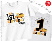 Construction Birthday Shirt or Bodysuit - Dumptruck Birthday Shirt - Personalized with child's age and name