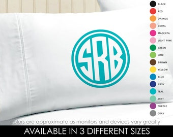 Monogram Pillowcase - Circle Monogrammed Pillowcase - Printed Monogram Pillowcase - Graduation Gift - College Dorm - sorority gift