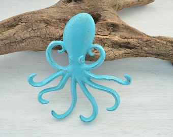 Ready to ship..One Octopus Hook, Cast iron hook, Tropical Decor,Coat hook, Towel Hook, Nautical