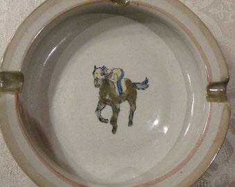 Louisville Stoneware Horse and Jockey Ashtray