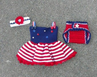 FREE SHIPPING - Crochet Baby Girl Patriotic Stars & Stripes Dress Set - Dress-Diaper Cover-Headband - Size Newborn - Photo Prop