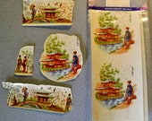 Beautiful - Vintage - Water Mount Decals - Oriental Asian Decor - Scenes with Ladies and Houses - 6 Piece Set - 3 Different Images