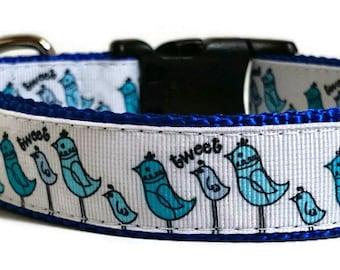 Blue Bird Adjustable Dog Collar - 1 Inch Wide
