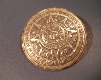 925 Silver Mayan Perpetual  Sun Calender Brooch or Pendant
