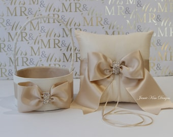 Ring Bearer Pillow and Flower Girl Basket Set - (Ivory & Champange Gold)