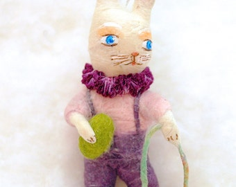Spun cotton Bunny rabbit Easter feather tree ornament OOAK vintage craft by jejeMae