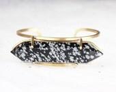 Snowflake Obsidian Brass Cuff Bracelet