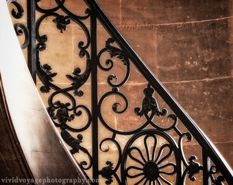 Staircase Photo, Black Iron, Stair Railing, Versailles Photo, Wrought Iron Art, Brown and Black Decor, Stair Photograph, Architecture Print
