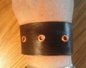 Leather Rivet Cuff Bracelets - Popular Cuff Bracelets - Handmade in the USA - Elusive Wolf