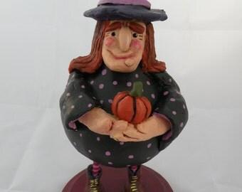 Witch Gourd with Pumpkin for Halloween Natural Gourd Primitive Decor Halloween Decoration Folk Art Decor