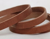 7-10 mm  Brown   Flat cord ,Solid Genuine Leather Strap 1 Yard