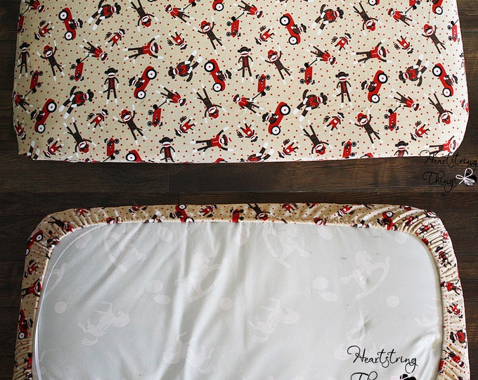 Crib sheet, Minky Sheet, Fitted sheet variety, soft sheet, Toddler Bed sheet, Sock Monkey sheet, Tan and red, Baby bedding, Baby boy, girl