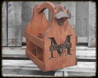 Wooden Beer Tote  Personalized  Beer Tote Carrier - Six Pack Home Brew Caddy - Christmas gift for him - Man cave Groomsmen Gift