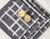 Brush Weave Chambray Napkin- Set of Four - Gray