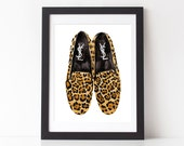 "YSL Leopard Loafers Watercolor Print 8 x 10"", 11 x 14"""