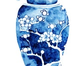 "Ginger Jar I Watercolor Giclee Print of an Original Painting 5 x 7"" Blue and White Vase Wall Art"