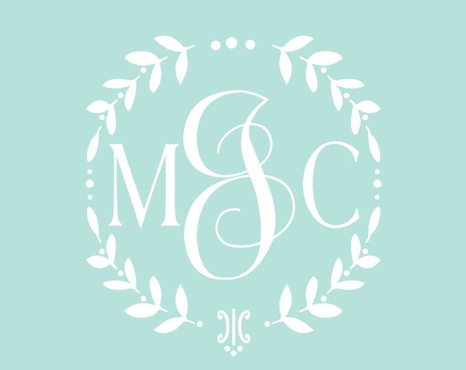 Vine Monogram Decal | Baby Girl Nursery Wall Decal | Wreath Monogram | Cornhole Wedding Decal Set