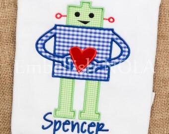 Robot Valentine Applique Shirt or Bodysuit Valentine Shirt