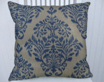 Blue Beige Ikat/Floral Pillow Cover-- 18x18 or 20x20 or 22x22 Decorative Cotton Throw Pillow- Accent Pillow
