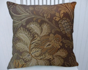 Brown Floral Decorative Throw Pillow Cover--18x18 or 20x20 or 22x22- Pillow Cover- Accent Pillow Cover