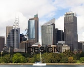 Canvas Photography - Sydney Skyline and Sailboat in Sydney House, Original image, Gallery wrapped.